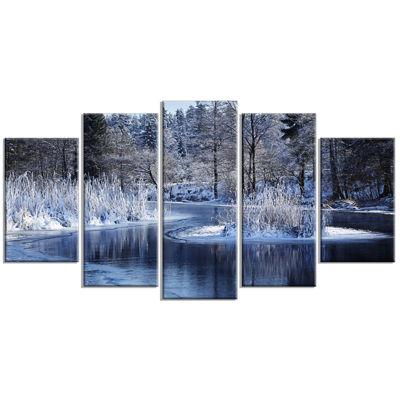 Design Art Winter Lake In Deep Forest Landscape Canvas Art Print - 5 Panels