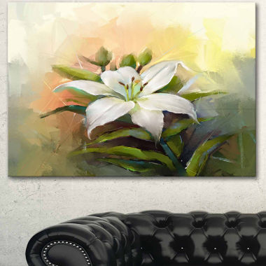 Designart White Lily Flower Oil Painting Canvas Art Print