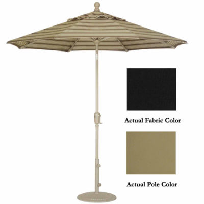 9' Crank Tilt Patio Market Umbrella - Champagne: Black