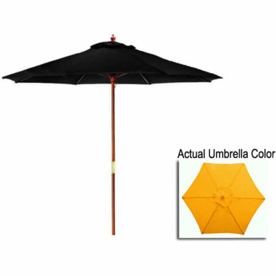 9' Outdoor Patio Market Umbrella - Yellow and Cherry Wood