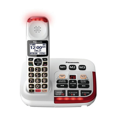 Panasonic KX-TGM420W Amplified Cordless Phone with Digital Answering Machine - 1 Handset