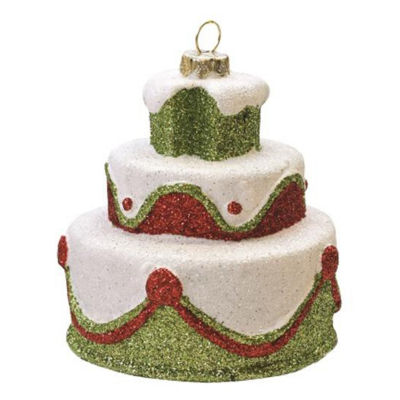 """3"""" Merry & Bright White  Green and Red Glittered Shatterproof 3-Tier Cake Christmas Ornament"""""""