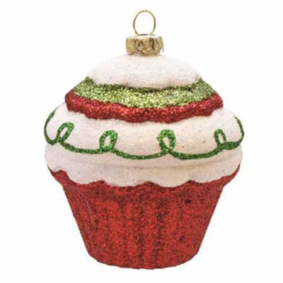 """3.5"""" Merry & Bright Red White and Green Glitter Shatterproof Cupcake Christmas Ornament"""""""