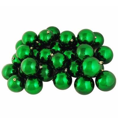"32ct Shiny Christmas Green Shatterproof Christmas Ball Ornaments 3.25"" (80mm)"""
