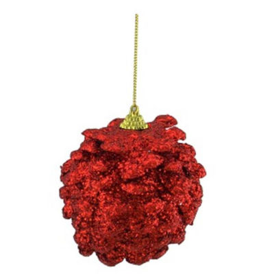 """3ct Red Holographic Glitter Drenched Christmas Pine Cone Ornaments 3"""" (75mm)"""""""