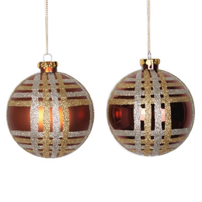 "4ct Copper w/ Champagne Gold & Silver Glitter Plaid Shatterproof Christmas Ball Ornaments 4"" (100mm)"""