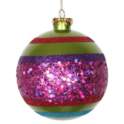 """4ct Lime Green and Cerise Pink Shatterproof Christmas Glitter Ball Ornaments 4"""" (100mm)"""""""