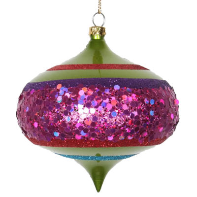 "4CT Lime Green and Cerise Pink Shatterproof Christmas Glitter Onion Ornaments 4"" (100mm)"""