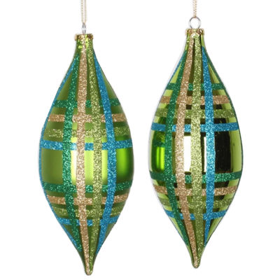 4ct Lime Green w/ Blue  Green & Gold Glitter Plaid Shatterproof Christmas Finial Drop Ornaments 7""