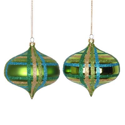 "4ct Lime Green w/ Blue  Green & Gold Glitter Plaid Shatterproof Christmas Onion Ornaments 4"" (100mm)"""