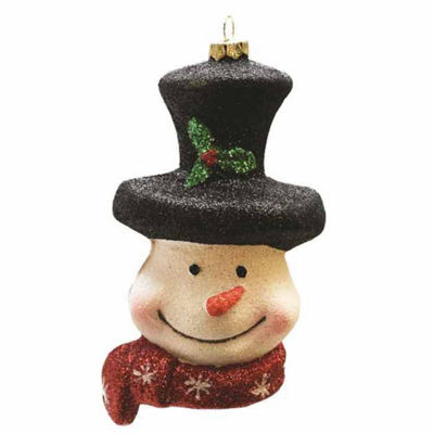 "5"" Merry & Bright Whimsical Snowman Head with Top Hat and Scarf Shatterproof Christmas Ornament"""