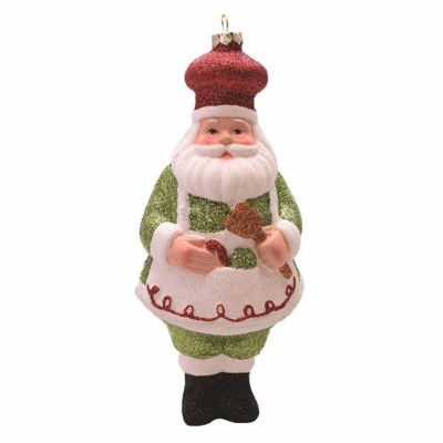 """6"""" Merry & Bright Green  White and Red Glittered Shatterproof Santa Chef Christmas Ornament"""""""
