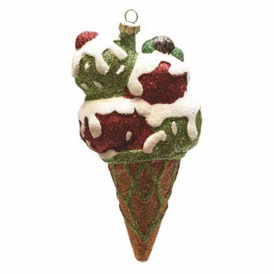 "6"" Merry & Bright Red  Green and White Glitter Shatterproof Ice Cream Cone Christmas Ornament"""