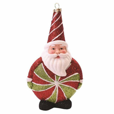 """6"""" Merry & Bright Red  White and Green Glitter Shatterproof Santa Claus Candy Christmas Ornament"""""""