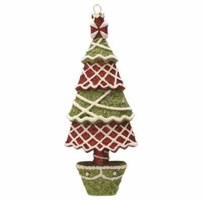 "7"" Merry & Bright Red  Green and White Glitter Shatterproof Christmas Tree Ornament"""