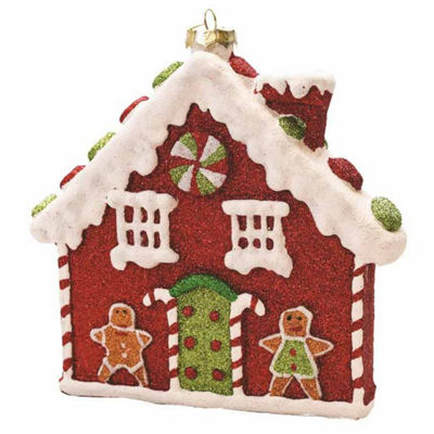 "7.25"" Merry & Bright Red  White and Green GlitterShatterproof Gingerbread House Christmas Ornament"""