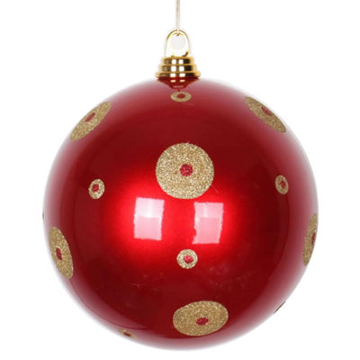 "Candy Apple Red with Gold Glitter Polka Dots Christmas Ball Ornament 8"" (200mm)"""