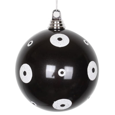 """Candy Black with White Glitter Polka Dots Commercial Size Christmas Ball Ornament 6"""" (150mm)"""""""