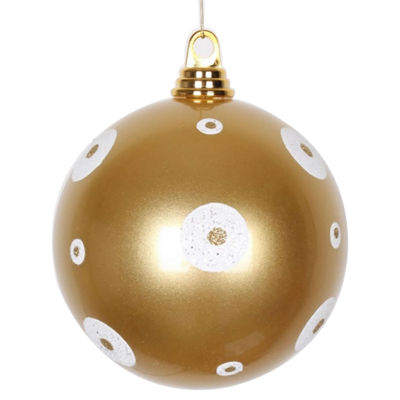 "Candy Gold with White Glitter Polka Dots Commercial Size Christmas Ball Ornament 6"" (150mm)"""