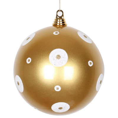 "Candy Gold with White Glitter Polka Dots Commercial Size Christmas Ball Ornament 8"" (200mm)"""