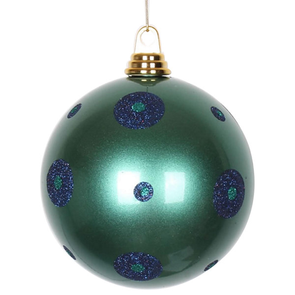 "Candy Teal Green w/ Sea Blue Glitter Polka Dots Commercial Size Christmas Ball Ornament 6"" (150mm)"""
