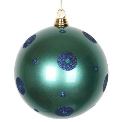 "Candy Teal Green with Sea Blue Glitter Polka DotsCommercial Size Christmas Ball Ornament 8"" (200mm)"""