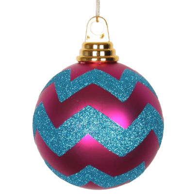 """Cerise Pink Matte and Turquoise Blue Glitter Chevron Shatterproof Christmas Ball Ornaments 4""""(100mm)"""""""