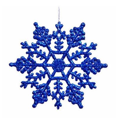 "Club Pack of 24 Lavish Blue Glitter Snowflake Christmas Ornaments 4"""