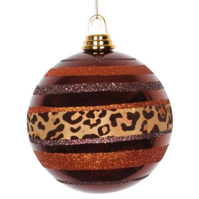 "Diva Safari Cheetah Print & Stripes Copper and Coffee Christmas Ball Ornament 5.5"" (140mm)"""