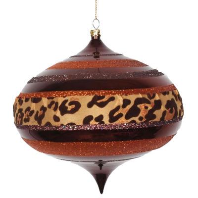 "Diva Safari Cheetah Print & Stripes Copper and Coffee Commercial Christmas Onion Ornament 6"" (160mm)"""