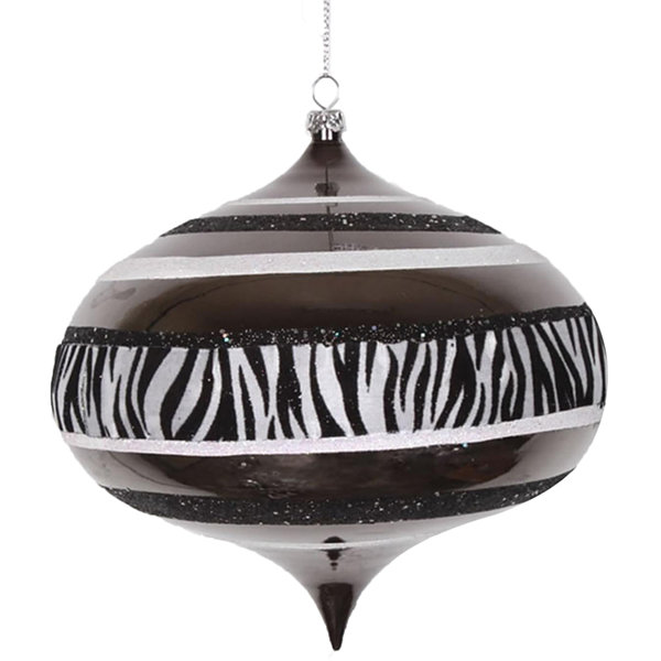 "Diva Safari Zebra Print & Stripes Black and WhiteCommercial Christmas Onion Ornament 6"" (160mm)"""