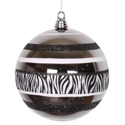 """Diva Safari Zebra Print & Stripes Black and WhiteCommercial Size Christmas Ball Ornament 8"""" (200mm)"""""""