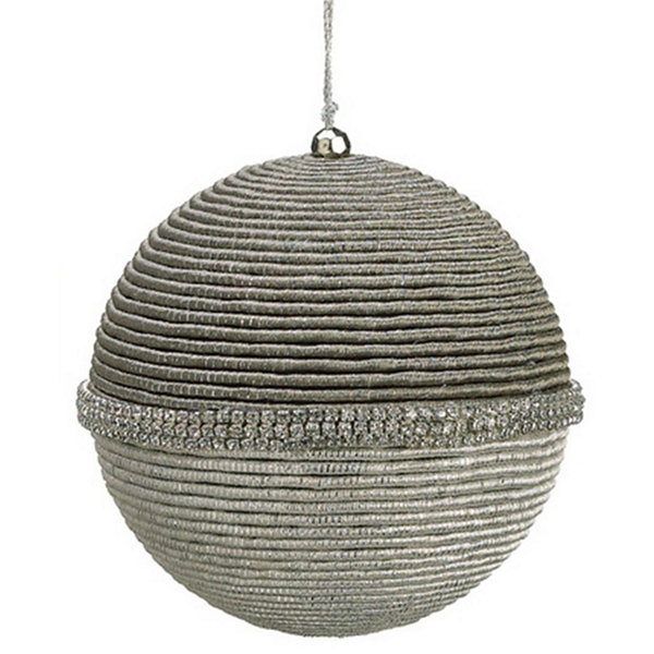 "Glamour Time Silver Rhinestone Spiraling Cord Christmas Ball Ornament 5"" (125mm)"""