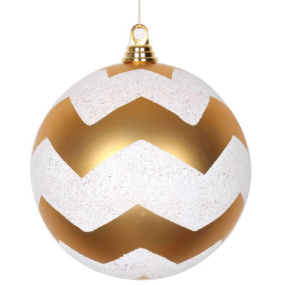 """Gold Matte with White Glitter Chevron Commercial Size Christmas Ball Ornament 8"""" (200mm)"""""""