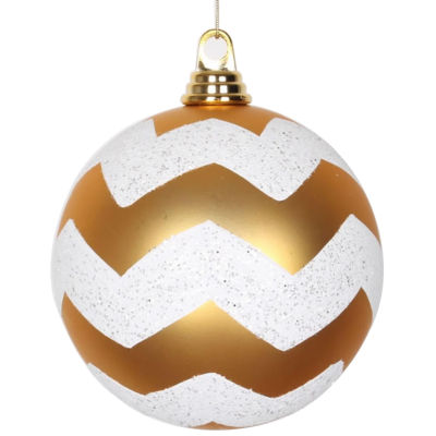 "Gold Matte with White Glitter Chevron Commercial Size Christmas Ball Ornaments 6"" (150mm)"""