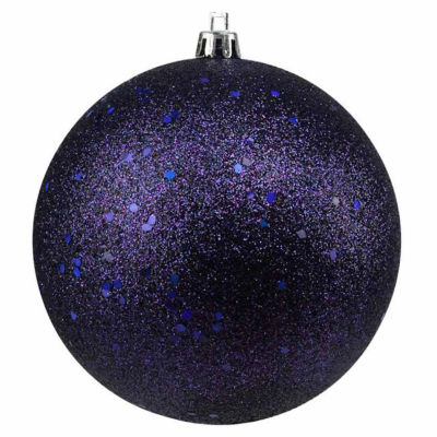 "Indigo Blue Holographic Glitter Shatterproof Christmas Ball Ornament 4"" (100mm)"""