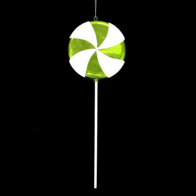"""Large Candy Fantasy Lime Green Swirl Lollipop Christmas Ornament Decoration 22"""""""