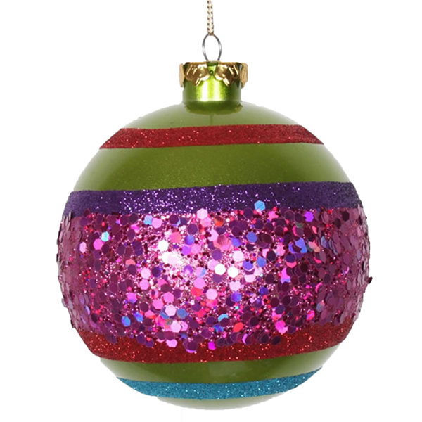 "Lime Green and Cerise Pink Shatterproof Christmas Ball Ornament 5.5"" (140mm)"""