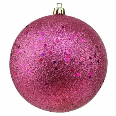 "Pink Magenta Holographic Glitter Shatterproof Christmas Ball Ornament 4"" (100mm)"""