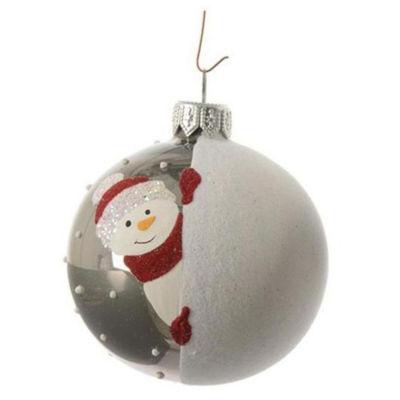 "Alpine Chic Pearl Gray Decorative Snowman Design Glass Christmas Ball Ornament 3.25"" (80mm)"""