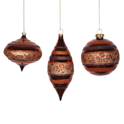 Set of 3 Diva Safari Cheetah Print & Stripes Gold Copper and Coffee Christmas Ornaments 7""