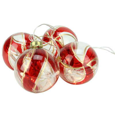 Set of 4 Battery Operated Red and Gold Swirl GlassBall LED Lighted Christmas Ornaments