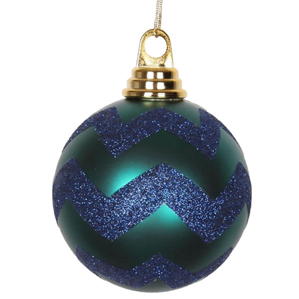 "Teal Green Matte and Sea Blue Glitter Chevron Shatterproof Christmas Ball Ornaments 4"" (100mm)"""