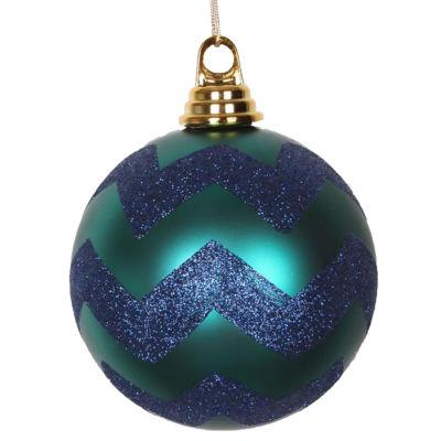 "Teal Green Matte with Sea Blue Glitter Chevron Christmas Ball Ornament 4.75"" (120mm)"""