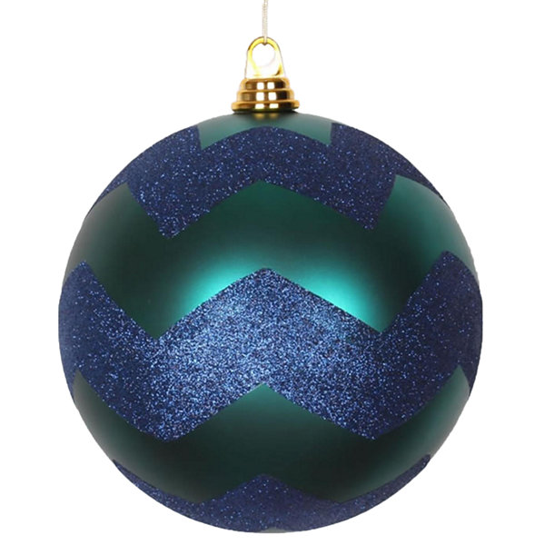 "Teal Green Matte with Sea Blue Glitter Chevron Commercial Size Christmas Ball Ornament 8"" (200mm)"""