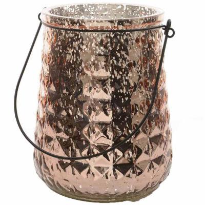 "14"" Winter Light Platinum Textured Mercury Hurricane Glass Christmas Decoration"""