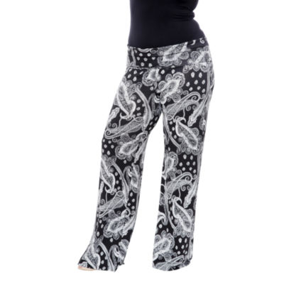 White Mark Printed Paisley Palazzo Pants-Plus