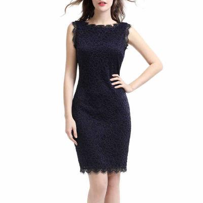 phistic Women's Sleeveless Boatneck Lace Sheath Dress