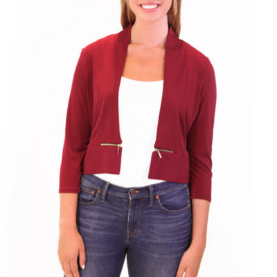 Nina Leonard 3/4 Sleeve Bolero With Zippers