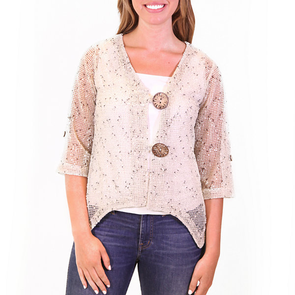 Nina Leonard Coconut Button Bolero